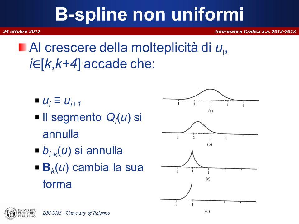 B-spline non uniformi 24 ottobre 2012. Al crescere della molteplicità di ui, i∈[k,k+4] accade che: